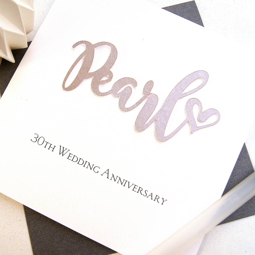 What Is The 30th Wedding Anniversary Gift: 30th Pearl Wedding Anniversary Card By The Hummingbird