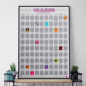 100 Albums Scratch Bucket List Poster - music fans