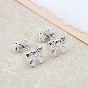 Girl's Sterling Silver Bow Earrings - children's jewellery