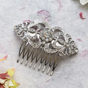Crystal Double Heart Hair Comb