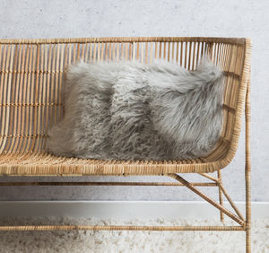 Ecru Tibetan Sheepskin Cushion - the new winter rustic