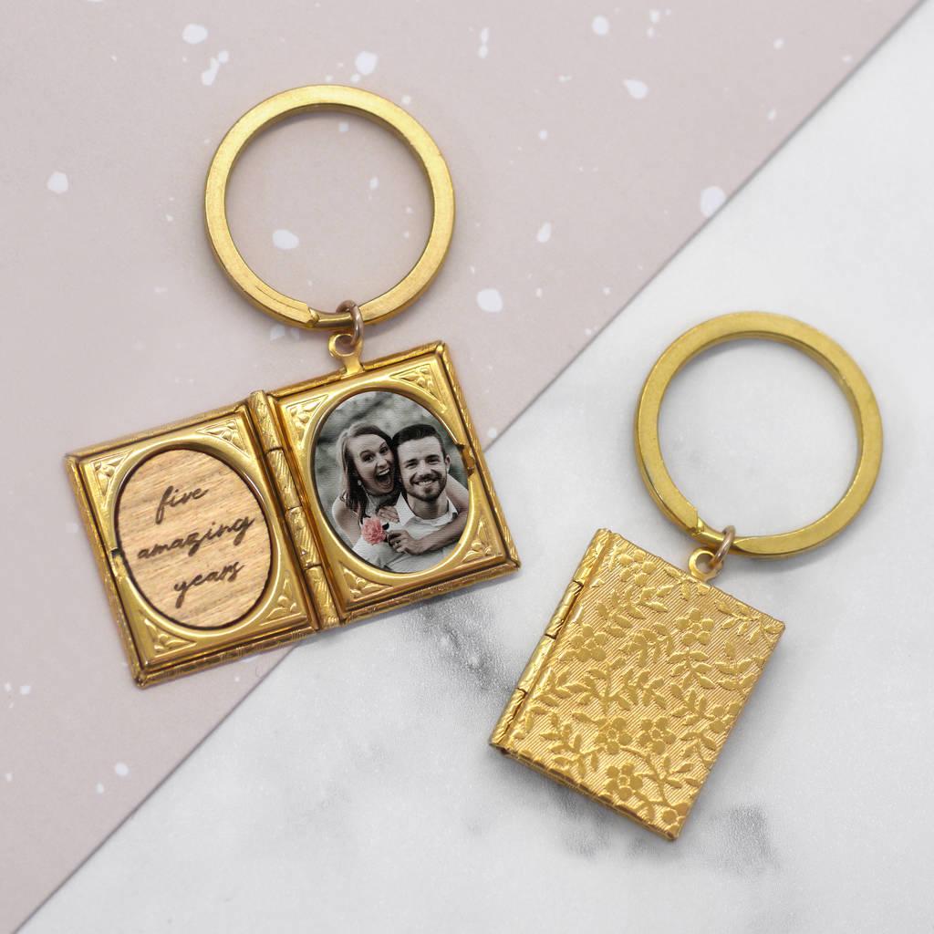Personalised Photo Storybook Locket Keyring