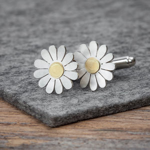 Daisy Cufflinks In Solid Silver And 18ct Gold