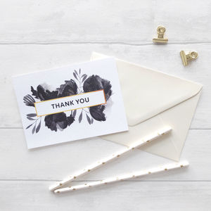 'Black Rose' Thank You Cards