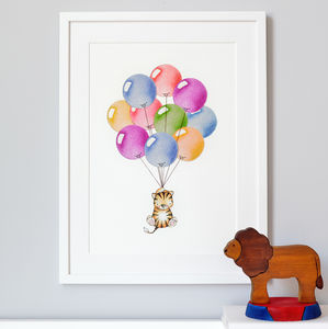 Personalised Bright Balloon Bunch Nursery Print - children's room