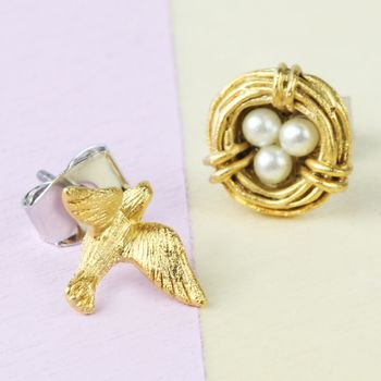 Nest And Swallow Stud Earrings