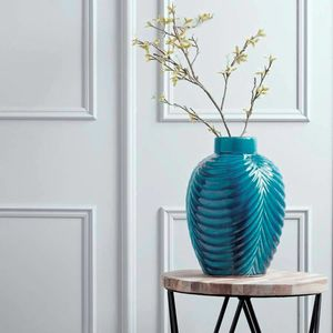 Teal Blue Crackleglaze Vase - home accessories