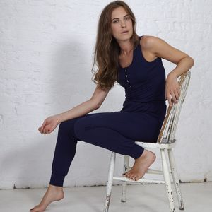 Jersey Allinone Loungesuit In Navy Blue - trousers & leggings