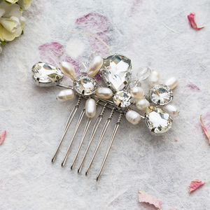 Daisy Crystal And Pearl Little Hair Comb