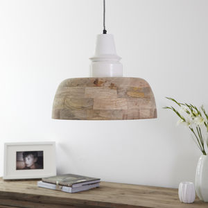 Industrial Natural Wood Pendant Light Cream - pendant lights