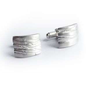 Silver Texture Bound Cufflinks - men's accessories