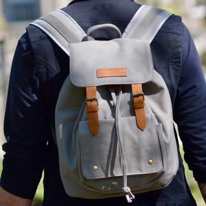 Overcast Grey Columbus Canvas Backpack - for him