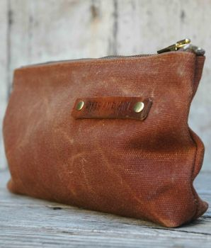 Brown Waxed Canvas Zip Pouch