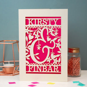 Personalised Papercut Ampersand Valentines Card - wedding, engagement & anniversary cards