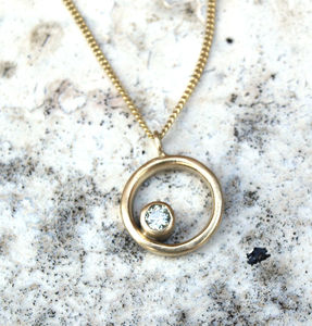 9ct Gold Moissanite Necklace