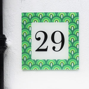 Personalised House Number Sign, Retro Arch