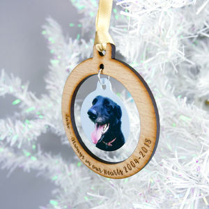 Pet Memorial Christmas Photo Bauble