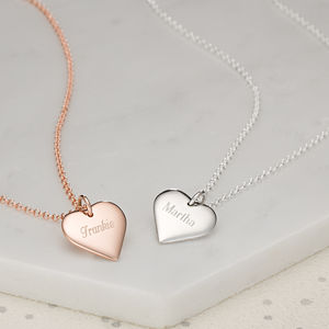 Personalised Rose Gold Or Silver Heart Necklace