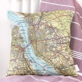 Personalised Map UK Destination Cushion Cover - sale