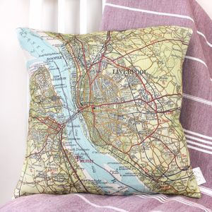 Personalised UK Destination Map Cushion - living room
