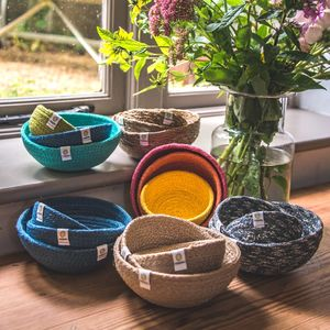 Set Of Three Jute Mini Bowls - office & study