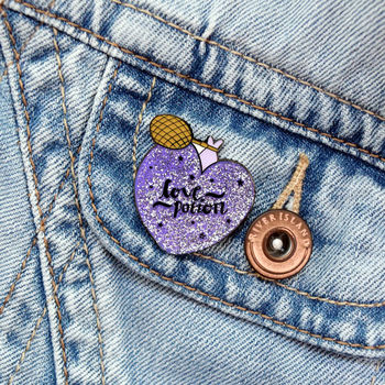 30mm Glitter Love Potion Enamel Pin Brooch
