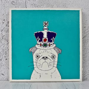 Pug In A Crown Original Canvas - canvas prints & art
