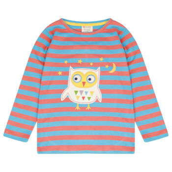Unisex Long Sleeved Orange And Blue Stripy Owl Top