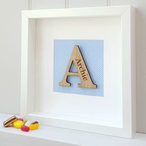 Personalised New Baby Oak Initial Gift