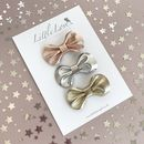Little Love Leather Bow Hair Clip Set /Metallic