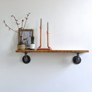 Chalk Farm Reclaimed Industrial Pipe Shelf - bedroom