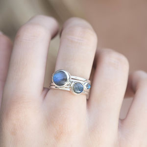 Storm Sterling Silver Stacking Rings With Labradorite