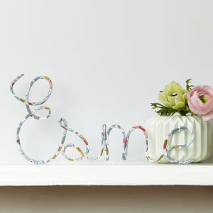 Personalised Sign Liberty Betsy Pastel Fabric And Wire - personalised
