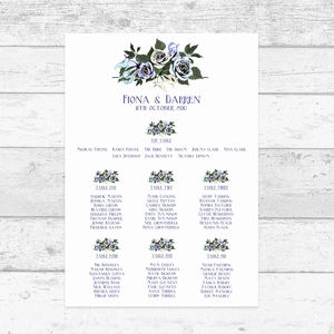 Magical Turquoise And Lilac Floral Table Plan