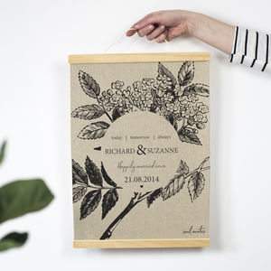 Personalised Botanical 4th Anniversary Linen Print - new in prints & art