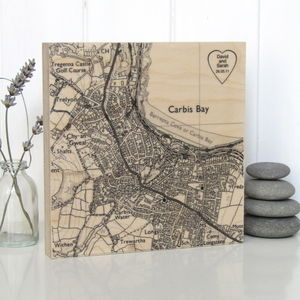 Personalised Heart Location Map Print On Wood - 100 best wedding prints