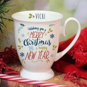 Bone China Merry Christmas Personalised Mug