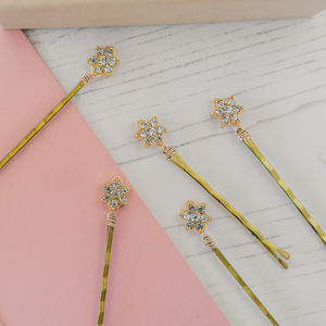 Set Of Five Gold Diamante Flower Hair Pins