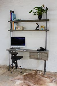 Cherie Desk With Drawers And Shelves - shelves