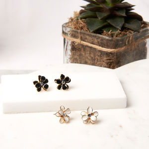 Cubic Flower Stud Earrings