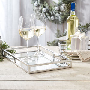 A Set Of Two Mirrored Gallery Trays - kitchen