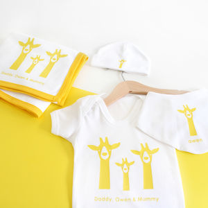 Personalised New Baby Gift Set, Giraffe Family - hats, scarves & gloves