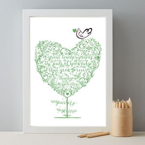 Personalised Teacher Thankyou Class Gift Print - whatsnew