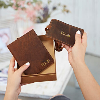 Personalised Leather Passport Cover And Luggage Tag Set