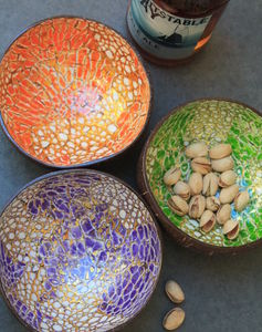 Gold Pattern Coconut Shell Snack Bowl