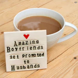 Boyfriend To Husband Ceramic Coaster Engagement Gift - tableware