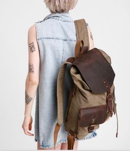 Canvas And Leather Double Pocket Backpack - bags
