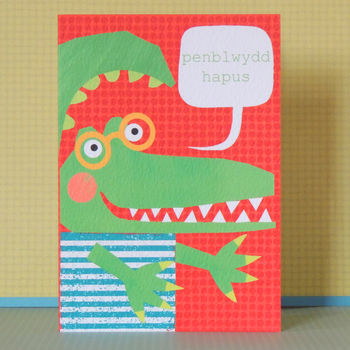 Welsh Birthday Card Crocodeil