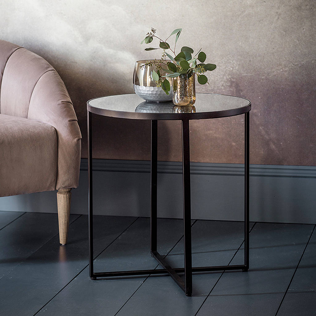 Black Metal Side Table With Smoked Mirror Top By Primrose