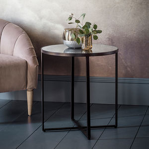 Black Metal Side Table With Smoked Mirror Top